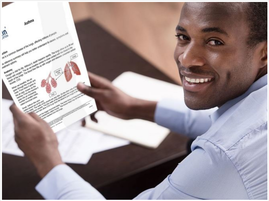 Man looking at an X-Plain Handout